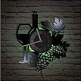 KDBWYC Botella de Vino con Copa de Vino, racimo de UVA, Registro, Reloj de Pared, Bar en casa, decoración de la Bodega, Cocina, bodegón, Vinilo, álbum, Reloj