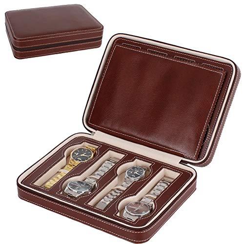 ポータブル時計オーガナイザーボックス - Nasion.V 8スロットトラベルウォッチ収納ケースレザーレットジッパーウォッチホルダーコレクターケースジュエリー収納オーガナイザーボックス - ブラウン
