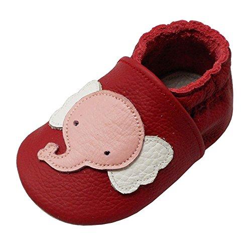 YALION Baby Weiche Leder Lauflernschuhe Krabbelschuhe Hausschuhe Lederpuschen Elefant Rot (EU 24/25=XL, Rot)