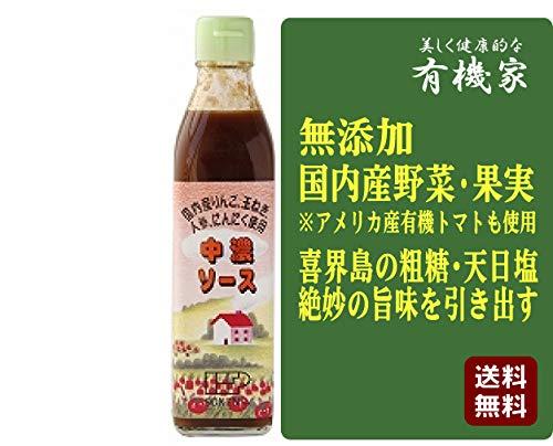無添加 中濃ソース 300ml ★ 送料無料 コンパクト ★ 国内産野菜・果実(りんご・玉ねぎ・人参・にんにく)を使用した、よりフルーティーな自然のうま味を引き出したソースです。トマトは国内産と外国産有機栽培品を併用。