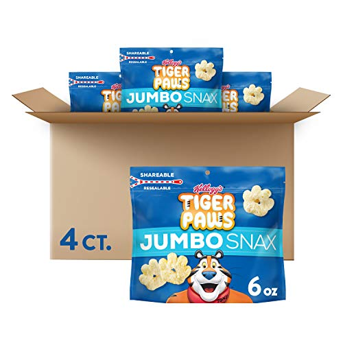 Kellogg's Tiger Paws Jumbo Snax, Cereal Snacks, Original, On the Go, 6oz Resealable Bag(Pack of 4)
