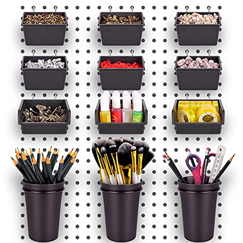 Pegboard Bins PegBoard Cups with Hooks & Loops 12 Pack Set, Peg Hooks Assortment Organizer Accessory, Various Tools Storage Arrange System Kit, for Garage Craft Workshop Workbench Hobby Office