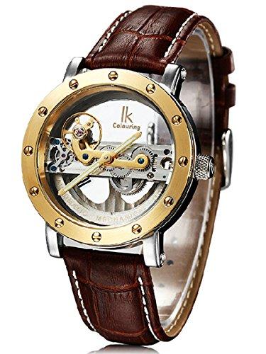Alienwork IK Reloj Mecánico Automático Relojes Automáticos Hombre Mujer Piel de Vaca marrón Analógicos Unisex Plata Impermeable 5 ATM Esqueleto