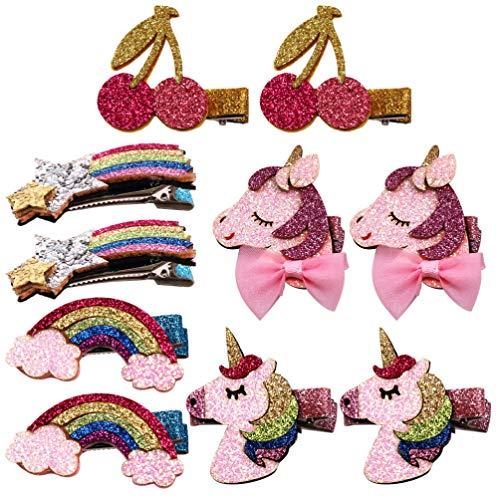 Lurrose 10Pcs Glitzer Haarspange Schöne Regenbogen Kirsche Einhorn Haarspangen Glänzend Krokodil Haarspangen für Mädchen