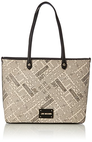 Love Moschino Borsa Canvas Natu+pu Nero-logo Nero, Cabas femme, Multicolore (Natural Canvas-black), 11x28x40 cm (B x H T)