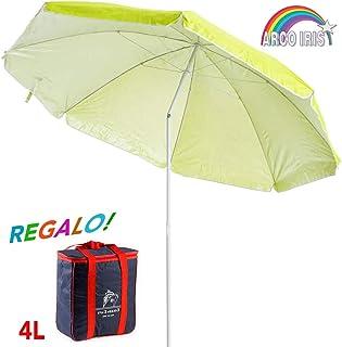 Arcoiris Sombrilla Playa con un Bolso Termico 4L Parasol de Aluminio Protección Solar UPF+50 (180cm, Verde)