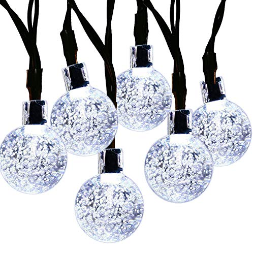 SUPSOO Solar String Light 20ft 30 LED Crystal Ball Waterproof String Lights Solar Powered Lighting for 8 Modes Lighting for Patio,Lawn,Garden,Wedding,Party,Christmas Decorations(White)