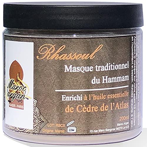 Rhassoul en poudre au Cèdre de l'Atlas - Argile Purifiante 100% Naturelle et Hypoallergénique - Masque Peau et Cheveux - 250g