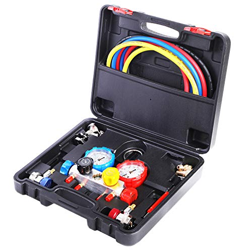 JIFETOR 4 Way AC Manifold Gauge Set, HVAC Diagnostic Freon Charging Tool for Auto Household R404A R134A R22 R410A, with 5FT Hose, Adjustable Quick Coupler, Adjustable Can Tap, Acme Tank Adapters