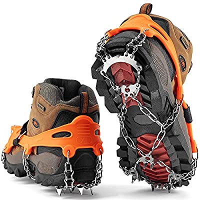 SHARKMOUTH Crampons Ice Traction Cleats, Ice Snow Grips for Boots and Shoes, Anti Slip 23 Stainless Steel Spikes, Safe Protect for Walking, Jogging, Climbing or Hiking on Snow and Ice, Orange XL