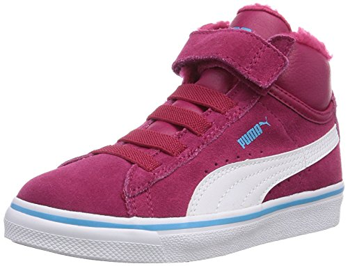 Puma Mid Vulc FUR V Kids 354143, Unisex - Kinder Hohe Sneakers, Rot (cerise-white-blue atoll 09), 20 EU (4 Kinder UK)