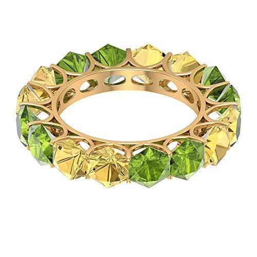 Alianza de eternidad alterna, 4 ct 5 mm peridoto anillo de boda, 4 ct, anillo hexagonal citrino, anillo de apilamiento de novia, anillo de piedra natal agosto, 14K Oro amarillo, Size:EU 68