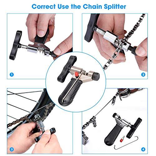 TBoonor Kettennieter Fahrrad Kettenwerkzeug Fahrrad Link Zange+Fahrrad Ketten Werkzeug+Ketten Prüfer+3 Paar Fahrradketten Kettengliede Fahrrad Reparatur Werkzeug Set - 3
