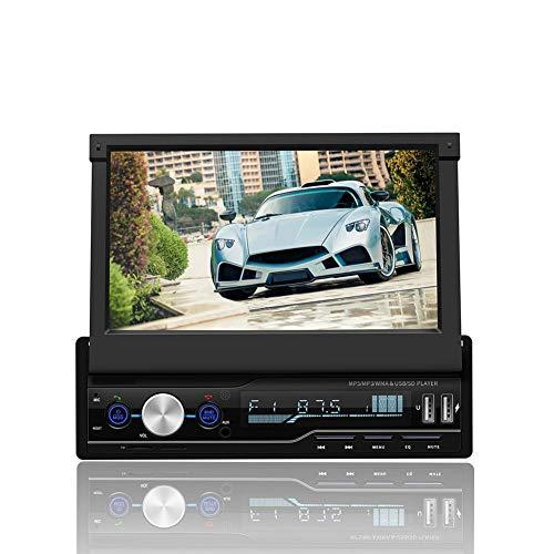 Denash Autoradio für Android, 7 Zoll Touchscreen Bildschirm Ausfahrbar, Lenkradsteuerung, Bluetooth Freisprecheinrichtung, Auto Video Player Radio MP5 Player (ohne GPS und Rückfahrkamera)