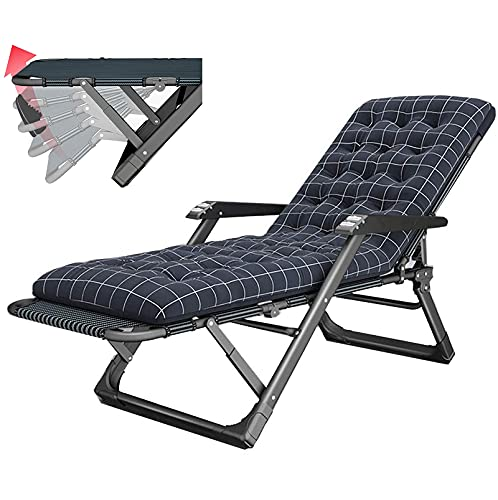 Sillón reclinable Plegable, Cama Plegable para el Almuerzo de Oficina, Silla Ajustable con Respaldo Perezoso para el hogar, sillón portátil para Exterior en la Playa Black