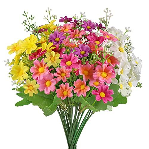 Omldggr 4 piezas de flores artificiales de imitación de margaritas de seda sintética, arbustos artificiales para interiores y exteriores, para decoración del hogar (amarillo, morado, blanco, rosa)
