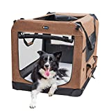 Veehoo Folding Soft Dog Crate, 3-Door Pet Kennel for Crate-Training Dogs, 5 x Heavy-Weight Mesh Screen, 600D Cationic Oxford Fabric, Indoor & Outdoor Use, 32', Gray
