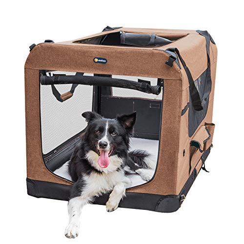 """Veehoo Folding Soft Dog Crate, 3-Door Pet Kennel for Crate-Training Dogs, 5 x Heavy-Weight Mesh Screen, 600D Cationic Oxford Fabric, Indoor & Outdoor Use, 32"""", Brown Basic Crates"""