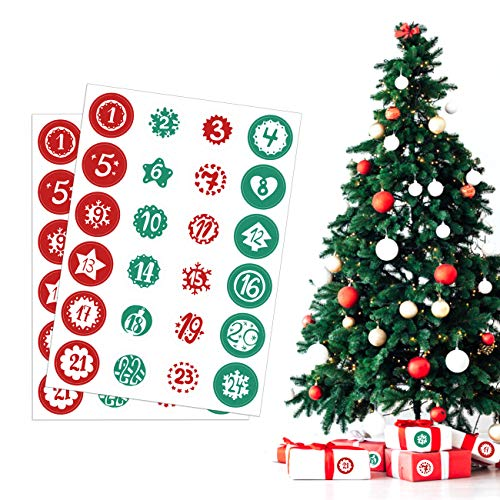 Kesoto 2 Sheets Advent Calendar Number Stickers 1-24 Christmas Calendar Stickers for Crafting Christmas DIY Labels, Green and Red