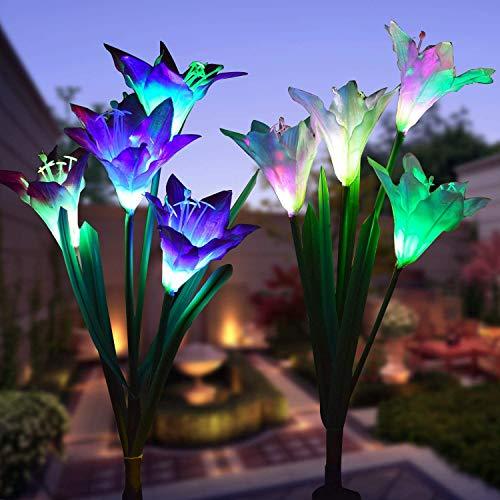 Lampara Solar Flores,Swonuk 2 Luces Solares con 8 Flores de Lirio Luces...