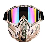 Outamateur Motorcycle Goggles Mask - Tactical Glasses with Detachable Mask Adjustable Windproof Outdoor Paintball Airsoft Mask Face Shield for Kids Youth Men Women (Camo Design)