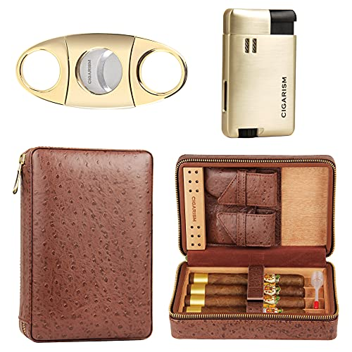 CIGARISM Genuine Leather Spanish Cedar Lined Cigar Travel Case Humidor W/Cutter Lighter Set 4 Count (Ostrich)