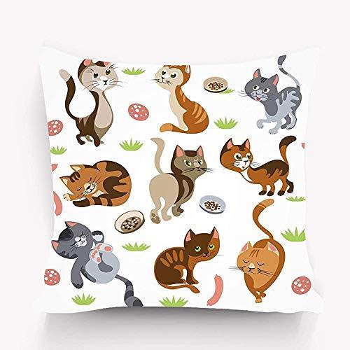 Blumenkissen, Moderne Illustration, lustige Katzen-Zeichensatz-isolierte Cartoon-Bilder Kätzchen Unterschiedliches Verhalten Mantel Kleine Sträucher Tiernahrung