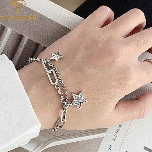 XKMY Pulsera de plata de ley 925 al por mayor para mujeres, parejas, vintage, con estrellas simples, circonitas, pulseras de regalo para mujeres