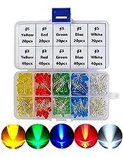 ATPWONZ 300pcs LED DIP Ultrabrillante Diodos Multicolor Emisores de Luz 3mm/5mm (5 Colores)