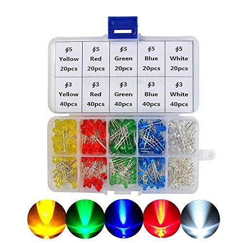 POKIENE 300 Stück 3mm 5mm LED Leuchtdioden Dioden set | Elektronikkomponenten Sortiments Kit | rund & 5 Farben
