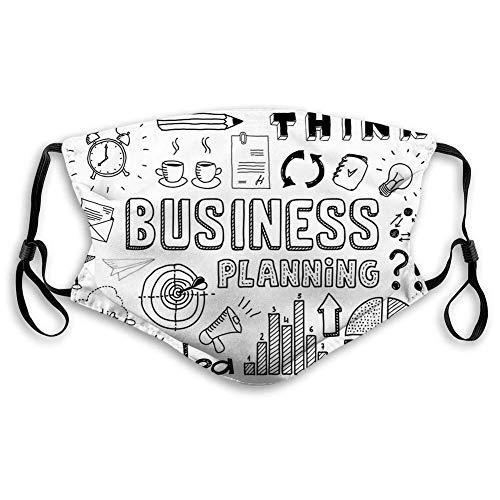 Gesichtsschutz, Doodle, Business Planning Theme Doodle Brainstorming Präsentation und Fortschritt, Schwarz Weiß, Winddicht