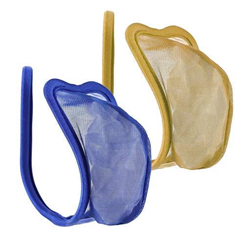 lau-fashion - Set di 2 mutandine da uomo, con perizoma, colore: beige, tanga blu trasparente, S/M/L