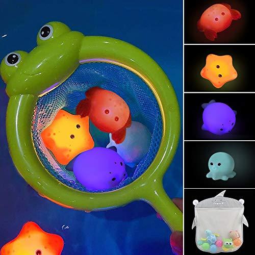 IWILCS Baby Badespielzeug,Wasserspielzeug,Leuchtendes Badewannenspielzeug,Kinder Badewannen Spielzeug Badespielzeug Set für Kleinkinder Jungen Mädchen