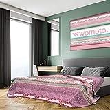 XXL Tagesdecke 220x240 cm OekoTex - Ornamente gesteppt lila rosa türkis Decke Bett Überwurf Wohndecke Steppdecke Landhaus-Stil Barock modern bunt