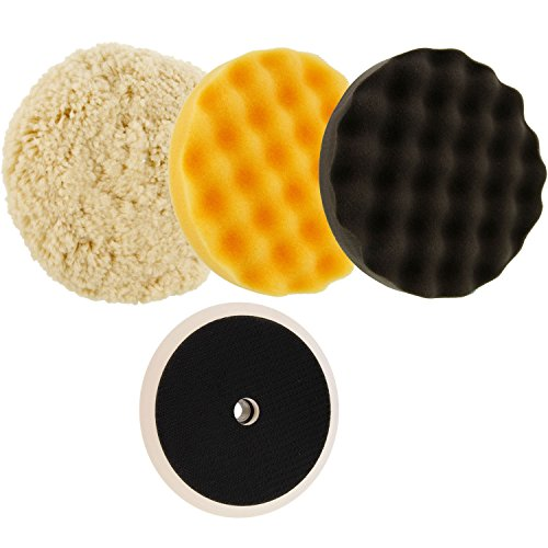 "TCP Global Complete 3 Pad Buffing and Polishing Kit with 3 - 8"" Pads; 2 Waffle Foam and 1 Wool Grip Pads and a 5/8"" Threaded Polisher Grip Backing Plate"