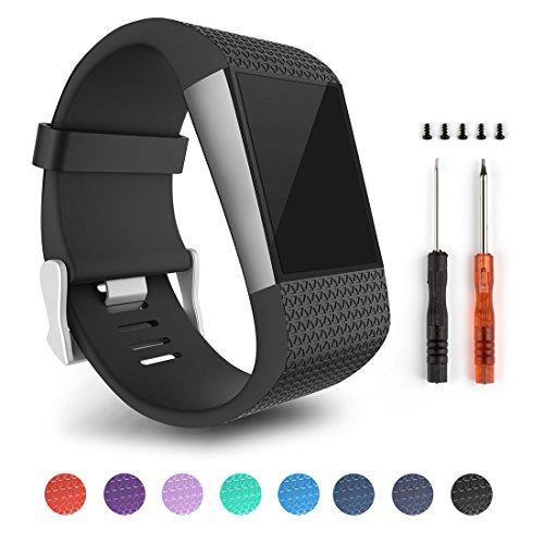 Correas de repuesto para la pulsera con monitoreo de actividad Fitbit Surge, color Black-L