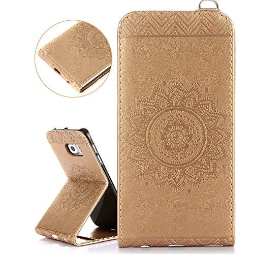 ISAKEN Compatibile con Samsung Galaxy S6 Edge Custodia[PU Pelle] [Shock-Absorption], Sbalzato Embossed Case Flip Portafoglio Wallet Caso con Supporto di Stand/Carte Slot/Chiusura - Gold