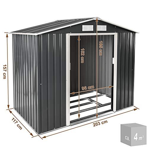 TecTake Metall Gerätehaus Gartenhaus Satteldach | Metall-Fundament | Diverse Farben und Modelle (Typ 3 | Grau | Nr. 402568) - 9
