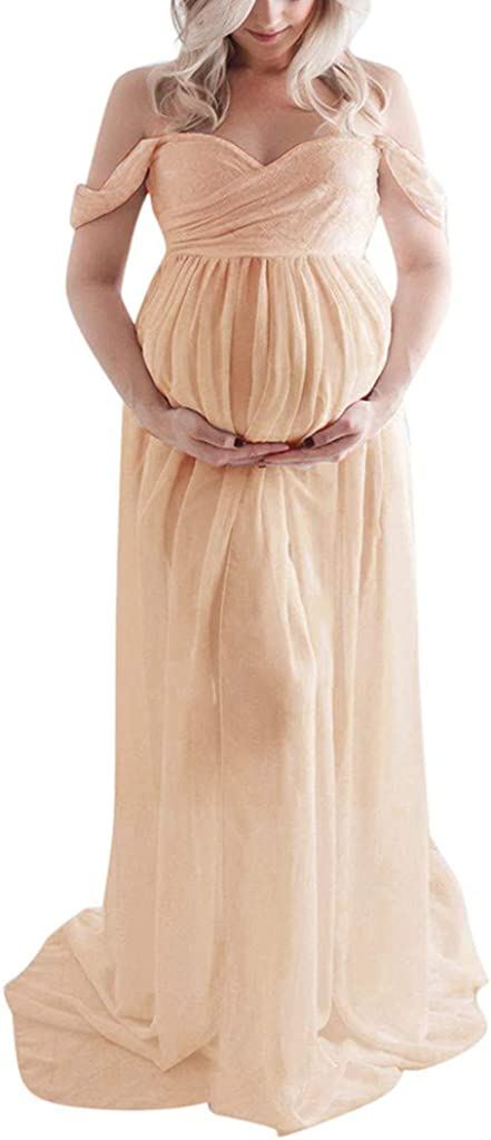 2021 New! Maternity Sexy Off Shoulder Photography Long Maxi Dress Pregnancy Gown for Baby Shower Photo Shoot