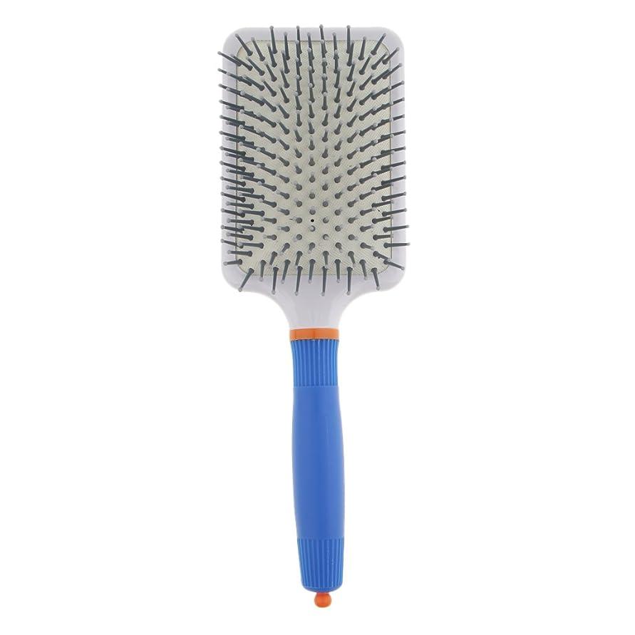 不従順しかしながら拡散するT TOOYFUL プラスチック製 ブラシ 頭皮マッサージブラシ フラットヘアブラシ 櫛 静電気防止 全2色 - ダークブルー