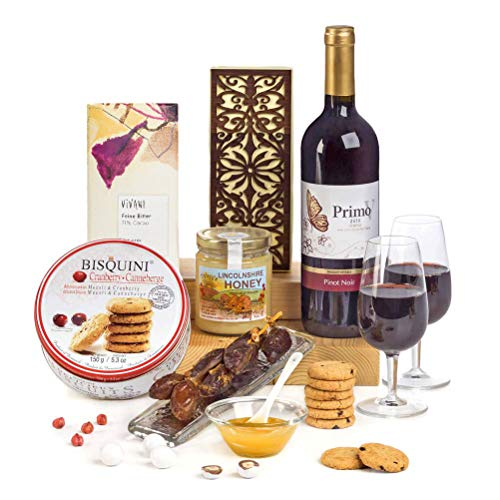 Hay Hampers Celebratory Kosher Food Hamper Box - Purim Food Gift with Kosher Wine