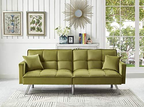 Legend Furniture Comfortable Velvet Sleeper Sofa Bed Sofabed, Green