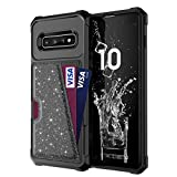 Galaxy S10+ S10Plus Case with Card Holder,PU+TPU Slim Shockproof Durable Drop Proof Protective Black Boy Girl Cover Shell