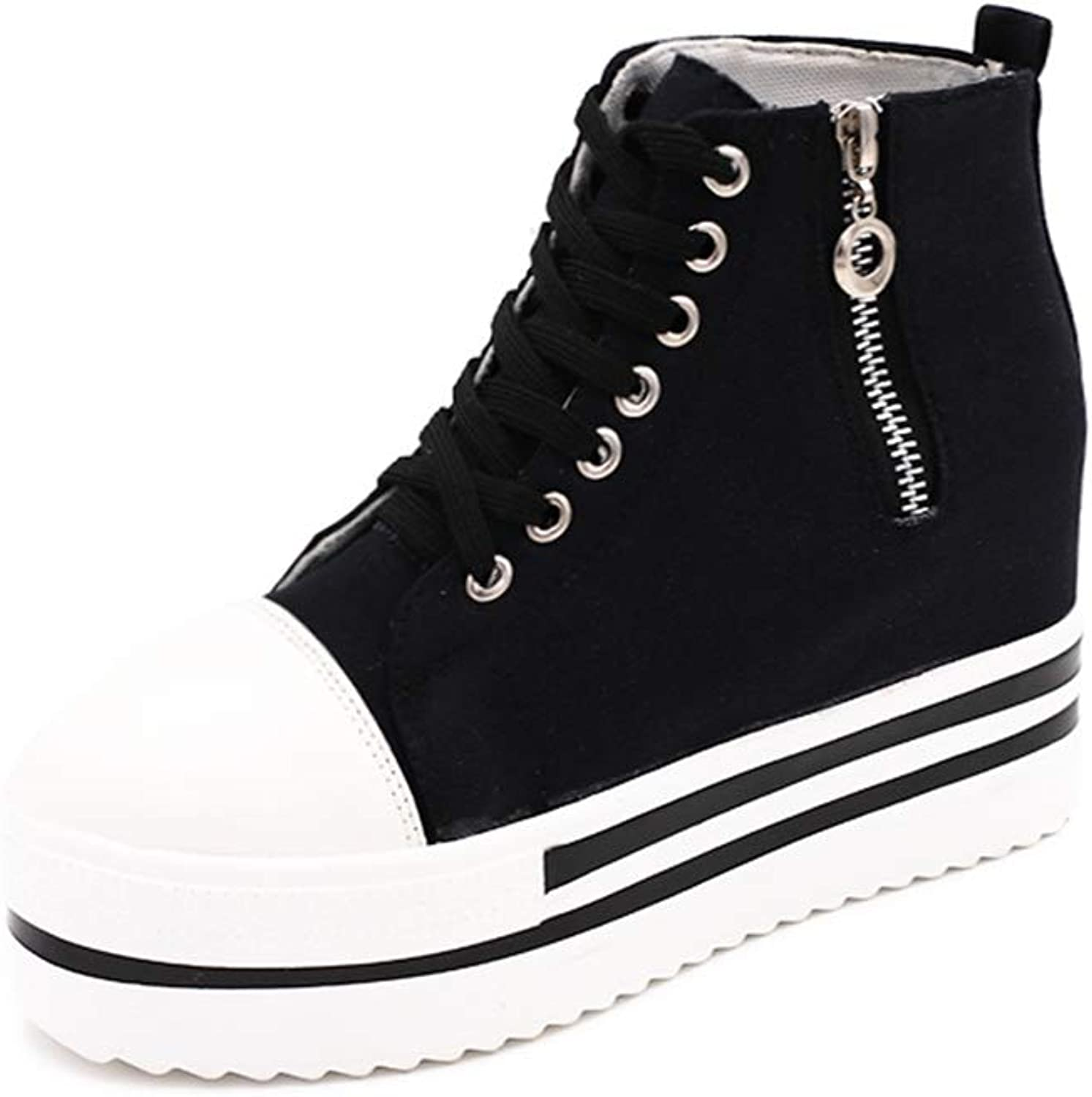 Cloudless Canvas shoes Women Platform,Wedges Zip Lace up High Top shoes
