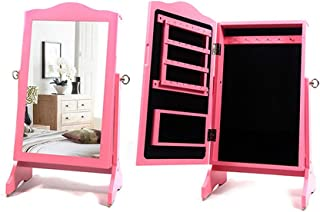 Fanuosu Armoires à Bijoux Make Up Mirror Cabinet De Bijoux Mini Table Inclinant Organisateur De Bijoux (Couleur : Rose, Ta...