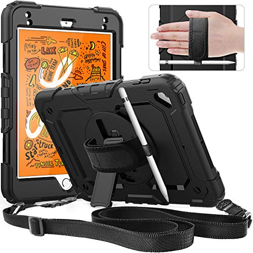 Timecity Hülle für iPad Mini 5/iPad Mini 4 mit ständer,Anti Fall hülle für Kinder,Stoßfest und Haltbarkeit hülle mit stifthalter handschlaufe Schulterriemen Blidschirmschutz,Geeignet im Freien-Schwarz