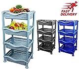 4 Tier Fruit Vegetable Rack Kitchen Pantry Storage Rack Kitchen Utility Garage (Black)