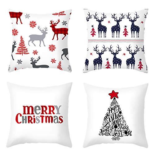 Set de 4 Funda de Cojine de Navidad 45 × 45 cm, Decorativa para El Hogar Interior Y Exterior Funda de Almohada con Estampado de Dibujos Animados para El Caso del Cojín del Sofá Cama del Coche