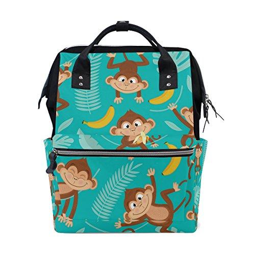 My Little Nest Large Capacity Baby Diaper Bag Monkey Durable Multi Function Travel Backpack for Mom Girls
