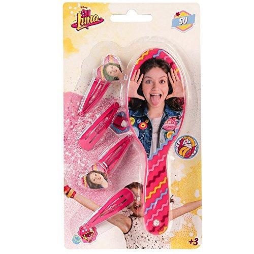 Compatible avec Brosse + 4 barrette Disney Soy Luna enfant rose barette
